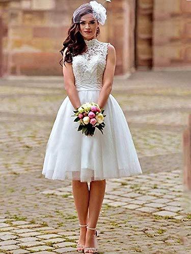 QIUXIANG Vestido de Novia Mujer Longitud de la Rodilla Vestido de Novia Vestidos de Novia Una línea Blanca de Cuello Alto Apliques de Encaje sin Espalda Boho Corto Vestidos de Boda