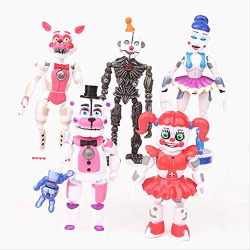 Mipojs 5Pcs / Set FNAF Five Nights At Freddys Freddy Figure Toys, Bonnie Foxy Fazbear Bear con Luz PVC Móvil 10-16Cm