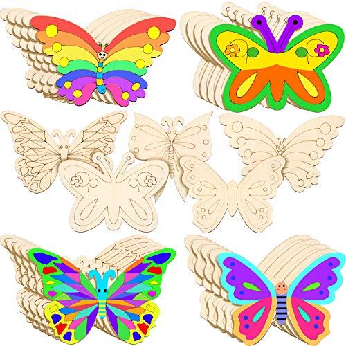 25 Stücke Holz Schmetterling Handwerk Unvollendete Holz Schmetterling Spalt Leer Schmetterling Holzfarbe Kunsthandwerk für Kinder Malen, DIY Handwerk, Tags, 5 Stile, 4 x 6 Zoll
