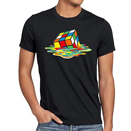 style3 Sheldon Cubo Mágico Camiseta para hombre T-Shirt, Talla:S;Color:Nero