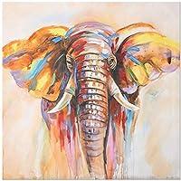 絵画 インテリア キャンバスにモダンな抽象的な油絵プリント壁アートポスター寝室の装飾的な水彩象の写真31.5x31.5in(80x80cm)x1pcsフレームなし