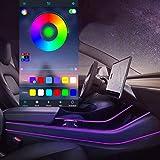 Led Light Tubes for Model 3 Model Y Car Interior Light 4pcs RGB Neon Strip Lights Multi Color Bluetooth App Sound Controller