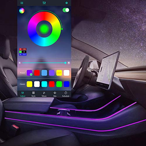 Led Light Tubes for Tesla Model 3 Y Car Interior Light 4pcs RGB Neon Strip Lights Multi Color Bluetooth App Sound Controller