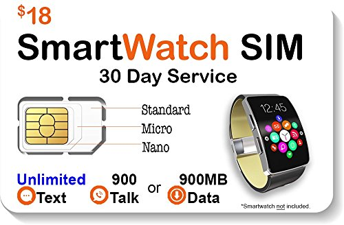 $18 Smart Watch SIM Card for 4G GSM Smartwatches and Wearables - 30 Day Service