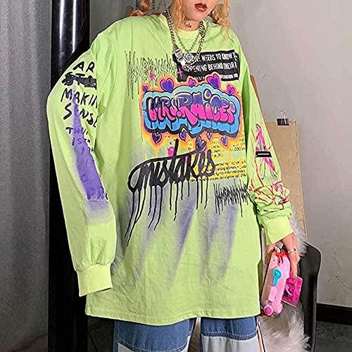 SuéTer Hip-Hop De Manga Larga Sudadera Con Capucha Moda Coreana Streetwear damas otoño punk tops tees mujeres imprimidas manga larga camisetas Casual Hip Hop Ropa ( Color : Green , Size : XL )