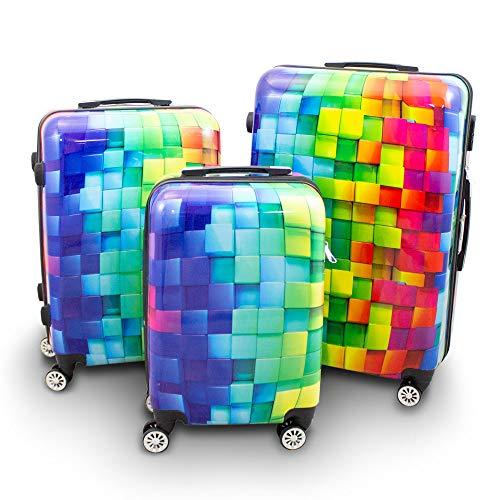 BERWIN® Design Koffer Reisekoffer Trolley Hartschalenkoffer Polycarbonat mit 4 Rollen als Set (Cube, 3er Set (M/L/XL))