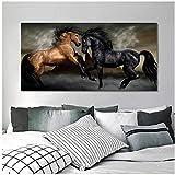Carteles e impresiones de animales modernos Arte de la pared Pintura en lienzo Dos caballos Imágenes de baile para la sala de estar Decoración del hogar 40x80cm (16x32in)