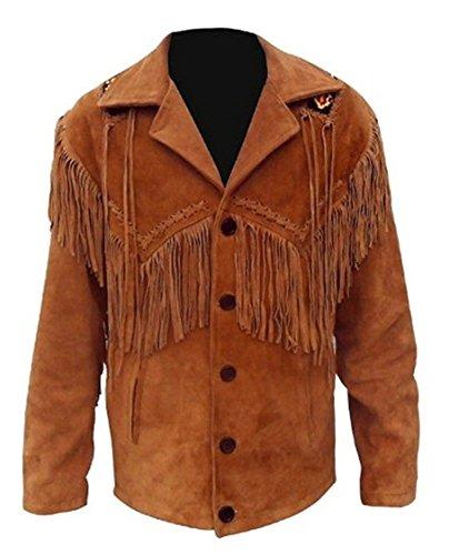 Vipconnection Western Cowboy - Chaqueta de Piel de Ante con Flecos para Hombre - Marrón - XL Pecho 112/117 cm