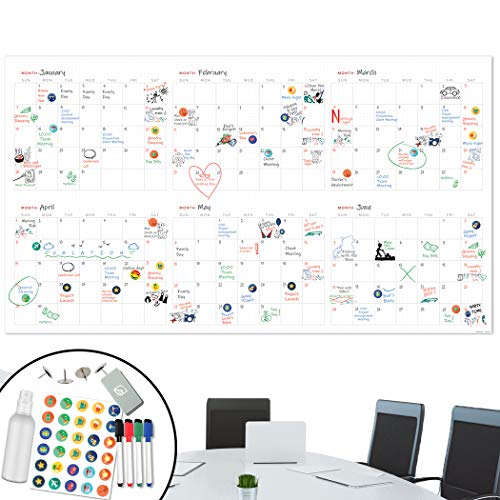 Large Dry Erase Wall Calendar - 25x44 Jumbo 6 Month Organizer - Giant Resable Oversized Planner for Home Office Business Class Room - Annual Quarter Yearly Undated Project Planner 2019-2020