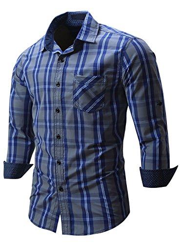 Neleus Men's Cotton Long Sleeve Button Down Plaid Shirts,115,Navy Blue,M,EUR L