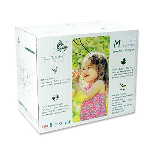 ECO BOOM Pannolini Usa e Getta per Bambini, 100% Bamboo Biodegradabile Pannolini Taglia 3 (13-22lb) 96 Pannolini Naturali Ipoallergenici e dermatologicamente testati Altamente Assorbenti
