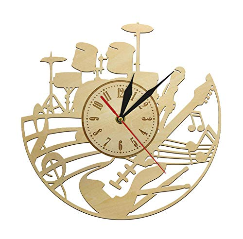 DFERT Wall Clock Guitar Musical Instrument Clock Music Tabs Playing Sheet Wooden Time Clock Musical Dreamer Fans Room Decor Wall Clock