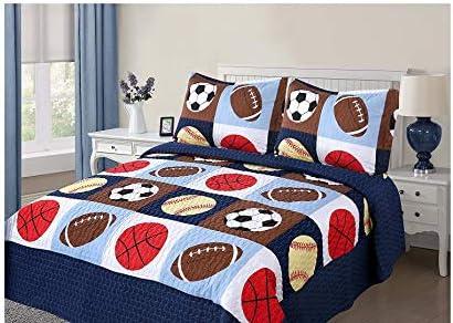 Golden Linens Parure de lit 3 pièces pleine taille pour enfants, basket-ball, football, baseball, garçons et filles (plein)