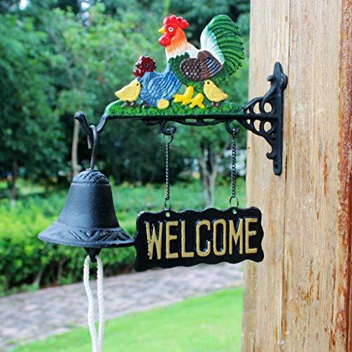 Riyyow Concertado de Hierro Decorativo Timbre Crafts Villa Hand Bell Timbre Vintage Garden Wind Chime 24x10x17cm