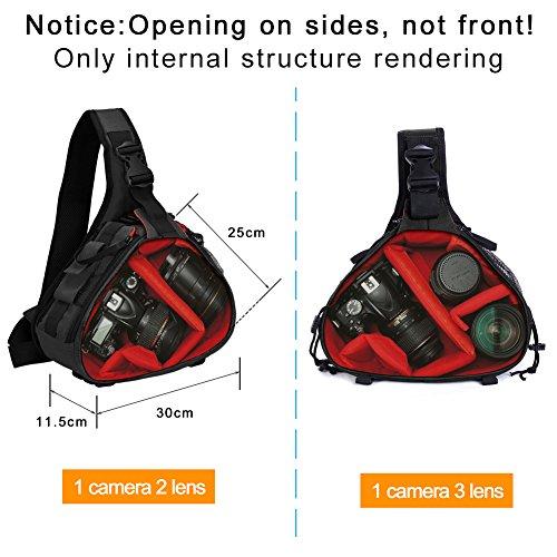 Kameratasche,CADeN Camera Sling Crossbag Fototasche Kamera Umhängetasche Kompatibel mit Canon Nikon Sony 1 DSLR/SLR 2 Objektiv Stativ(Schwarz)