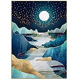 Arte de pared personalizar abstracto montaña río Luna noche lámina de oro lienzo impresión pintura nórdica decoración del hogar sala de estar 51x71cm sin marco