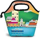 Bolsa de almuerzo con aislamiento de mapa de San Martín de Filipsburgo para la luna de miel, caja de picnic, enfriador portátil, bolsa de almuerzo para mujeres, niñas, hombres y niños