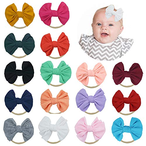 Baby Cotton Stripe Hair Bow Nylon Headbands Turban Knotted Bow Hairbands Soft Elastics 16 PCS for Newborn Infant Toddlers Girls by JIAHANG