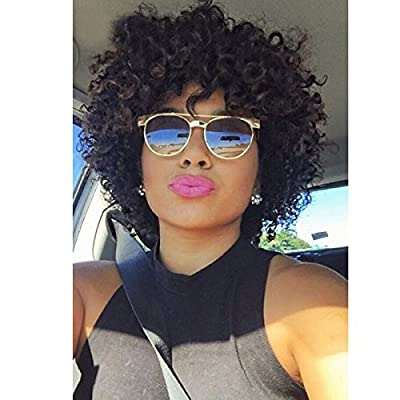 Short Curly Human Hair Wigs For Black Women Human Hair Curly Wigs Non Lace Glueless Wig with Bangs Side Part Wigs
