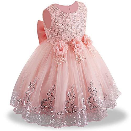 OBEEII Vestito da Principessa Fiore Ragazza Abito Pizzo Senza Maniche Floreale Gonna Tutu per Festa Cerimonia Carnevale Battesimo per Bambine 12-24 Mesi Rosa Chiaro
