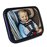 Baby Car Mirror- Baby Mirror for Car- Super Easy to Install 11.8x7.5 View Shatterproof Rear Facing Infant Car Seat Mirror with Resistant UV Strap and Fits All Cars -Best Baby Shower Gift