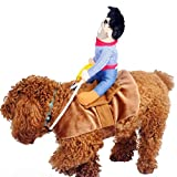 ISMARTEN Cowboy Rider Dog Costume for Dogs Outfit Knight Style with Doll and Hat Pet Costume (M)