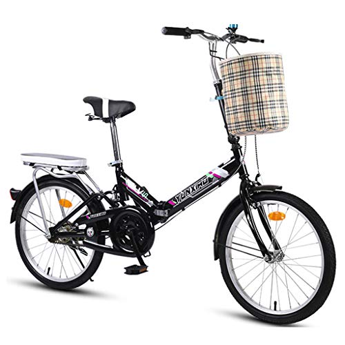 WPOV-A Damen-Faltrad, Single Speed Adult Bike, Praktisches Reisewerkzeug, Adult Student Bicycle0624-Z(Size:16 Zoll,Color:schwarz)
