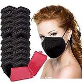 New Science - 20x Mascarilla Protectora FFP2 NR Adulto 5 capas Negro + Mask Case color aleatorio