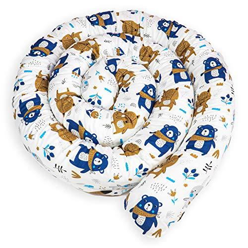 paracolpi lettino culla lettino 4 lati pali neonato bimba salsicciotto rullo ragazzo ragazza grigio - bianco 150 cm (Motivo con animali, 200 cm)