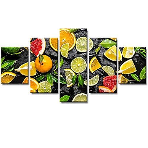 Relovsk Pintura Marco de imagen modular 5 paneles Casa de campo Pastoral Fruta Lienzo Arte de la pared Decoración del hogar para sala de estar_40x60cmx2 40x80cmx2 40x100cmx1 Frame