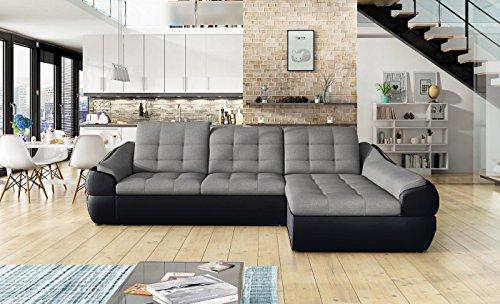 Ecksofa INFINITY MINI mit Schlaffunktion Sofa Couch Schlafsofa Polsterecke Bettfunktion (ottomane rechts, kunstleder schwarz / stoff INARI 91)