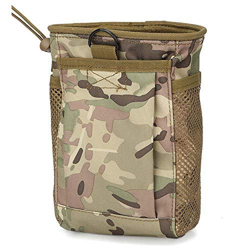 TOPTIE Tactical Molle Dump Pouch Multicam Mag Magazine Dump Bundle, Military Roll Up Drawstring Ammo Holder, Adjustable Belt Utility Fanny Hip Holster Bag-CP