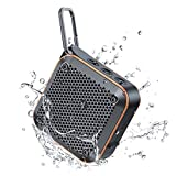 IPX7 Waterproof Bluetooth Speakers Portable Wireless, FM Radio Shower Speakers with TWS Stereo, Support TF Aux, Mini Small Outdoor Speaker with Metal Hook for Bathroom Bike Boat Vacation Accessories