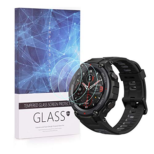 Protector de pantalla BECEMURU Amazfit T-Rex Pro, 9H Protector de pantalla de vidrio templado de cobertura completa para Amazfit T-Rex Pro Smartwatch (3 unidades)