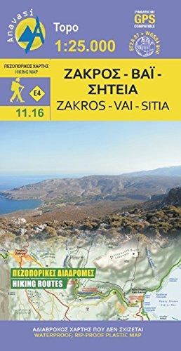 Zakros - Vai 1 : 25 000: Topografische Bergwanderkarte 11.16. Lasithi - Kreta - Griechenland