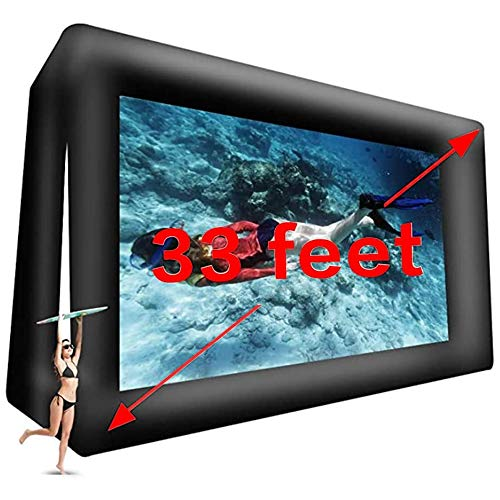 fitnessandfun 33' Huge Inflatable Movie Screen Outdoor Incl Blower - Seamless Front and Rear Projection - Portable Blow Up Projector Screen for Churches, Grand Parties, Backyard Pool Fun(33 feet)