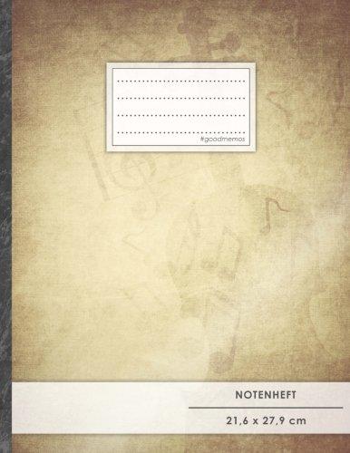 """Notenheft: DIN A4 • 48 Seiten, 24 Blatt, 12 Systeme, """"Pergament Paper"""" • Original #GoodMemos Schulheft • Mit Inhaltsverzeichnis und Seitenzahlen, Noten-Lineatur 14"""