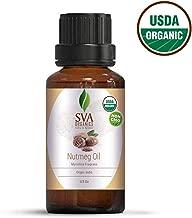 USDA Certified Organic Nutmeg Essential Oil 10 ml (1/3 Oz)- 100% Pure Natural Premium by SVA Organics - Therapeutic Grade, Anti Aging, Digestive Tonic