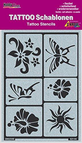 Krul Hobby Line Tattoo sjablonen Zon, bloemen, vlinder.