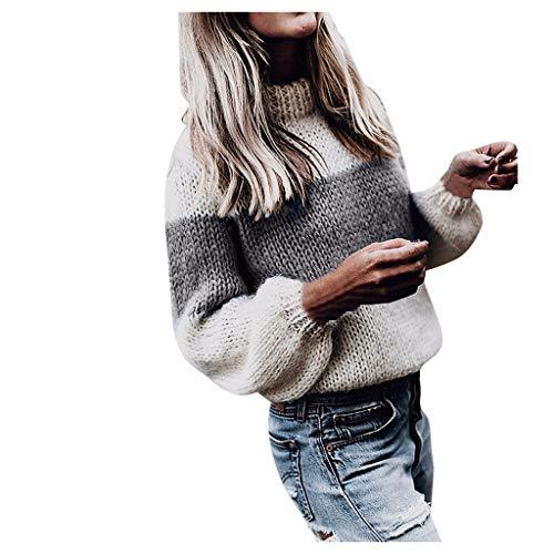 ZycShang_Donna Donna Maglione Collo Alto Vintage Elegante Dolcevita Maglieria Lunghe Invernali Sweater Elegante Baggy Jumper Top Casual Giuntura Maglione Pullover