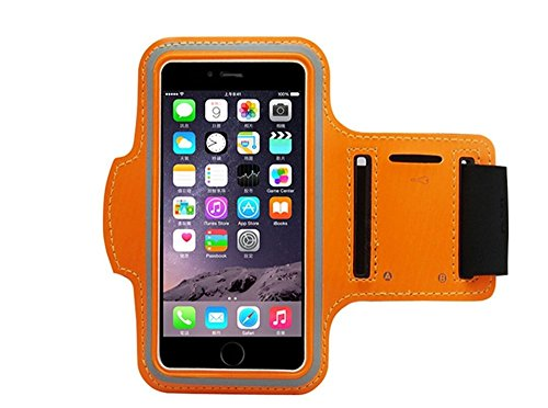Orange Armband Exercise Workout Case with Keyholder for Jogging fits Jethro SC628 3G Senior Cell FLIP Phone. for Arms up to 12 inches Big, Works Best with no Cover on Your Phone.