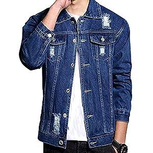 Men's Distressed Ripped Denim Jacket Button Down Trucker Jean Coat