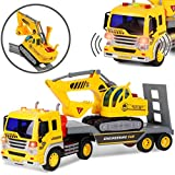 Liberty Imports Friction Powered Flatbed Trailer Truck Vehicle with Excavator Tractor - Push and Go Construction Toy for Kids with Lights and Sounds