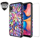 Galaxy Wireless Galaxy A10e Case with Tempered Glass Screen Protector for Girls Women, Dual Layer Heavy Duty Protective Phone Cover Cases for Galaxy A10e - Rainbow Flower