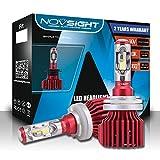 H15 LED Headlight Bulbs Conversion Kit, NOVSIGHT N6 Series Super Bright 10000LM 60W 6000K Cool White H15 High/Low Beam/Fog Light Bulb, No Dark Spots or Shadowed Areas(2-Pack)