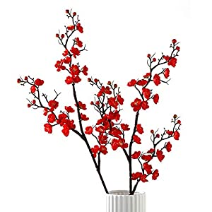 Artificial Flowers Plum Blossom Long Cherry Tabletop vase Simulation Flower Table Decoration Accessories Party Beach Theme Decorations Wedding Christmas 2 Pack (Bright red)