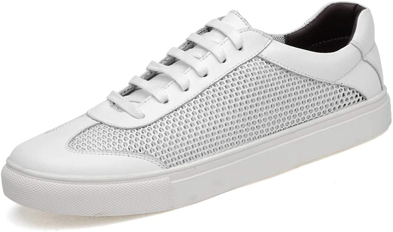 Athletic Sneakers for Men Perforated Mesh Fabric Genuine Leather shoes Running Skating Fitting Cricket shoes