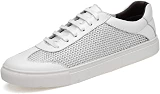 Fashion Athletic Sneakers For Men Perforated Mesh Fabric Echt Leather Shoes Running Skating Adjustment casual shoes (Color : White, Size : 42 EU)