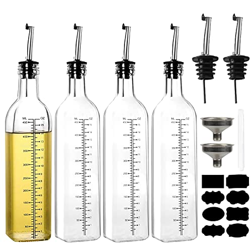 4 Pack Oil Dispenser, YULEER 17oz Transparent Olive Oil and Vinegar Dispenser Bottles Set, Square Graduated Glass Oil Bottle with Leak-proof & Airtight, Control Dosage Nozzle Plug