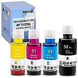 Xemax Compatible Recargar de Tinta Reemplazo para HP 31 32XL Trabajo para HP Smart-Tank Plus 455 555 570 655 Wireless All-in-One Ink-Tank Impresor, 165ml Negro, 100ml Cian/Magenta/Amarillo, 4 Botella